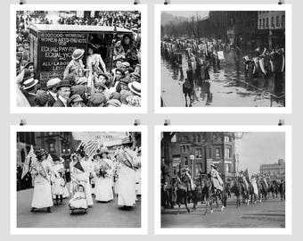 Suffragette Protest Photo Collection, Picket, March, Women's March, Equal Pay, Voting Rights, Equal Rights, Women's History, Wall Art