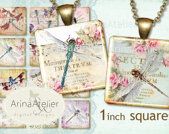 Vintage Dragonflies Collage 1 inch Squares - Digital Collage Sheet for 25 mm Earrings - Bottlecaps - Pendants - Magnets