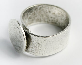 Ring Blank with 13mm Pad, Sturdy Silver Plated Adjustable Ring Blank, Made in USA, #N151