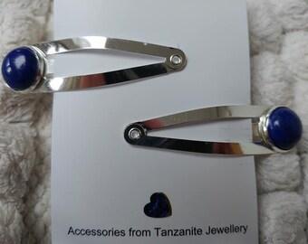 REAL gemstone hairclips set with LAPIS LAZULI