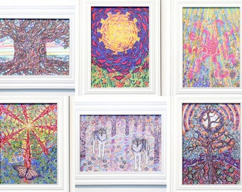 Choose Any 6, Greeting Cards, Eco-friendly Nature Art, Earth based Spirituality, Tree Medicine, Colorful Vibrant Drawing, made in California