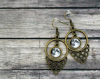 Moon Earrings, Moon Jewelry, Full Moon Earrings, Moon, Full Moon, Solar System Earrings, Planet Earrings, Planets