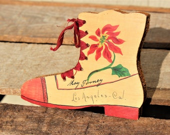 Vintage Los Angeles California Souvenir Wood Shoe