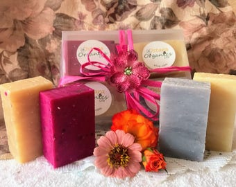 Floral Soap Gift Set, Floral Soap Spa Set, Floral Soap Set, Spa Gift Set, Bath Gift Set, Natural Soap Gift, Organic Soap Gift, Soap Gift Set