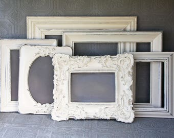 Wedding Frame White Set Of 3 Shabby Chic Vintage White Hand Painted & Distressed