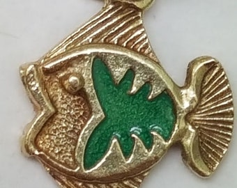 Antique Green Enamel 14k Gold FISH Charm Pendant, Made in Italy