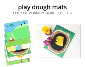 Play Dough Mats, Book of Mormon Stories Set. Printable Play Mat for Modeling Clay and Play Dough. LDS Baptism Gift.