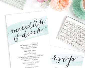 Mint Watercolor Wedding Invitation Suite, Printable Invitation and Reply, Watercolor Calligraphy Invitation, More Colors |  Subtle & Simple