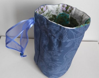 Periwinkle Blue and Vintage Floral Dice Bag