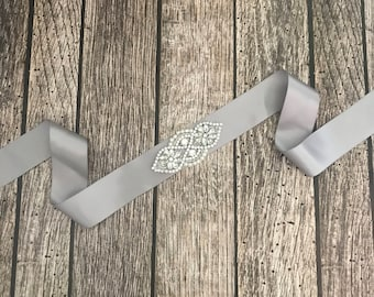 Grey sash, Flower girl sash, childrens sash, wedding sash, rhinestone sash, dress sash