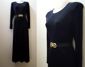 90s Maxi Dress / Vintage Black Lycra Maxi Dress