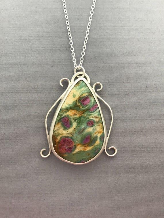 Ruby fuschite, sterling silver, pendant, handmade