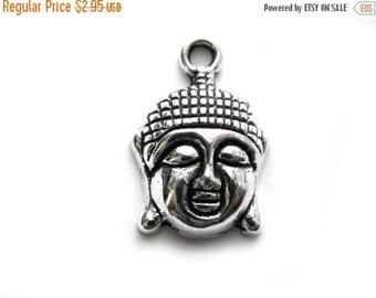 HALF PRICE 6 Silver Buddha Head Charms - Buddhist Charm
