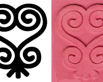 African Adinkra Sankofa Stamp for Polymer Clay, PMC, Ceramic Clay, Scrapbooking - Adrinkra Sankofa Heart Design Stamp for PMC Clay