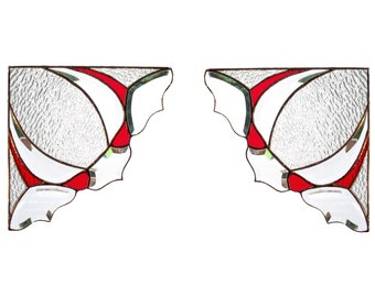PAIR Red Stained Glass Window Valance Victorian Window Corners Bevels