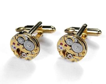 GIRARD PERREGAUX Gold Cufflinks Steampunk Watch Cufflinks Wedding Anniversary Groom Cufflinks Fiancee Cufflinks Gift - Jewelry by edmdesigns