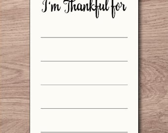 Thanksgiving Printable, I'm Thankful For Card, Thanksgiving Table Decor, Thanksgiving Activity, Thanksgiving Card, Thanksgiving Idea