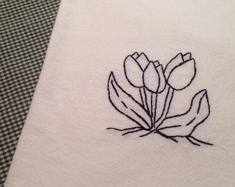 Farmhouse kitchen towel spring tulips flour sack towel