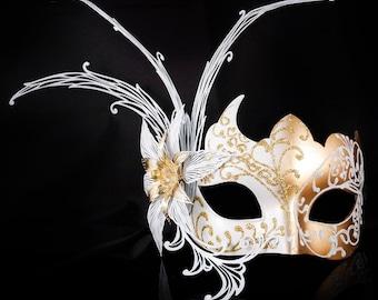 Gold Masquerade Mask, Masquerade Mask, Gold Flower, White/Gold Mask, Wedding Masquerade Mask, Mardi Gras Masquerade Mask, Masquerade Ball
