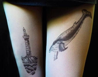 Lighthouse whale tattoo tights