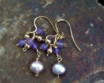 Pearl  Earrings, Akoya Pearls, Bridesmaid White Cluster Pearl Earrings,June Birthstone Earrings, Statement Wedding Bridal Jewelry