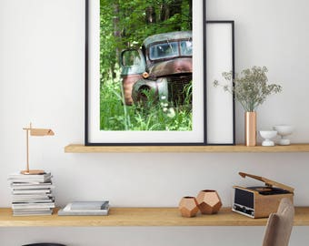 "Large Truck Art Photography, Large Format Print, Antique Truck Photography, Vintage Decor, Farmhouse Vintage, Bucks County, ""Antique Truck"""