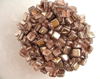 30 gold square Tile beads and clear 6mm