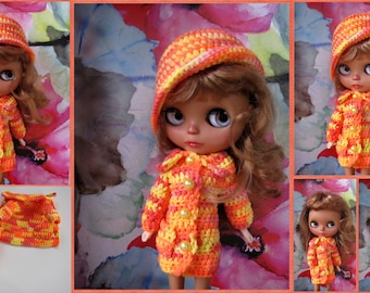 FREE SHIPPING Crocheted coat with cap