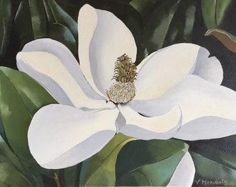 Magnolia Flower 16x20 original oil painting , magnolia art, floral paintings,white flower art,home decor wall art