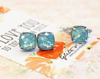 Emma - Pacific Opal Wedding Bridesmaid Gift Bridal Earrings and Ring, Bridesmaid Jewelry, Seafoam dark mint Swarovski Studs Square Cushion