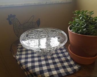 Antique Crystal Cake Plate