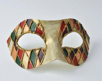"Men's Masquerade Mask!  Diamonds, Italian, Clown, Mascarade Mask, Venetian Ball, Mask on Stick  - ""The Harlequino"""