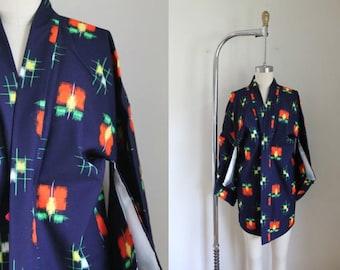 vintage wool haori - ICHO no HA indigo kimono jacket (deadstock)