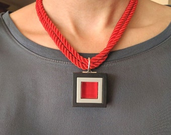 Modern red glass pendant necklace ,Minimalistic red pendant, Red and black Statement necklace,Contemporary red pendant