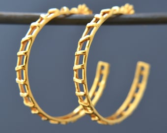Open Track Gold Hoop Earrings / Genuine 24k Gold Over Sterling Silver Earrings / Modern Design Earrings / Perfect Everyday Hoop Earrings