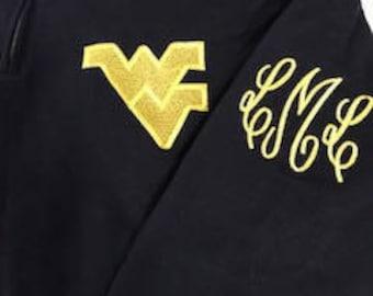 Monogrammed West Virginia Mountaineers Quarter Zip Sweatshirt in Navy