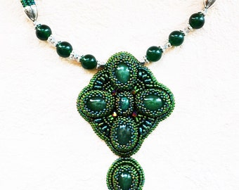 High fashion bead embroidery pendant and earrings . Handmade jewelry.Japanese seed beads toho,super duo,nefrit gemstones,leather,flagellum.