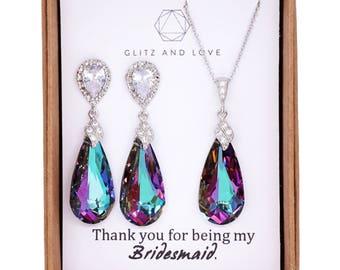 Swarovski Vitrail Light Purple Faceted Teardrop Crystal Earrings, Peacock Wedding, Bridal Earrings, Bridesmaid Jewelry, Wasima