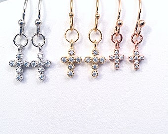 Tiny CZ Cross Bridesmaid Earrings in Silver, Gold, or Rose Tone, Elegant CZ Cross Dangle Earrings, Bridal Party Petite CZ Cross Earrings