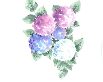 Hand painted Hydrangeas. 5 x 7 greeting card. Original art. Free shipping