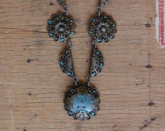 Antique 1930s filigree and carved quartz Art Deco necklace