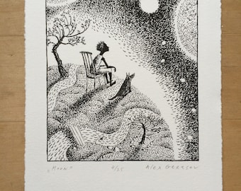 Moon - Original Lithograph - by Alex Gerasev - Free Shipping
