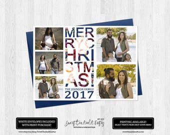 Christmas Photo Greeting Card Modern Typography Family Holiday Cards Digital File or Printed Cards