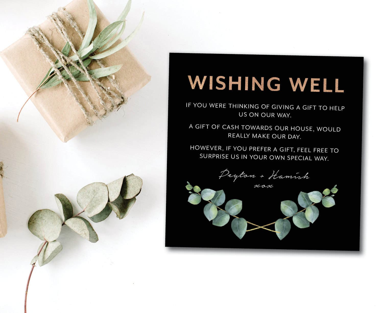 Wedding Gift Card Registry: Greenery Wedding Gift Registry Card Eucalyptus Wedding