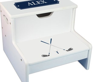 Personalized Golf Childrens Step And Storage Stool