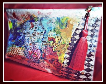Love HANDPAINTED CANVAS CLUTCH