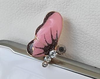 Dust plug, phone decoration, anti - dust plug, 3,5 mm pink butterfly dust plug, fashion mobile phone plug, universal earphone jack