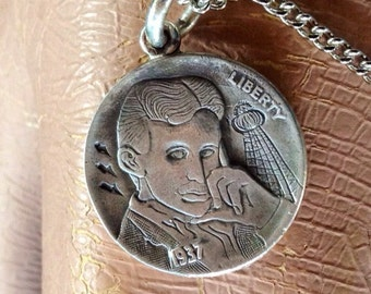 Nikola Tesla - Sterling Silver Hobo Nickel Steampunk Necklace Pendant