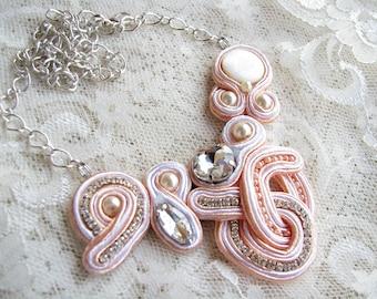 Bridal necklace Peach necklace Wedding necklace White necklace Pearl necklace Rhinestone necklace Elegant necklace Valentine's day gift