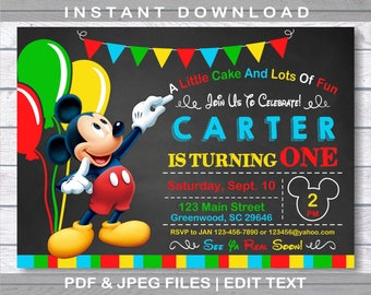 Mickey Mouse Invitations, Mickey Mouse Birthday Invitation, Instant Download, first birthday, Mickey Mouse Birthday,  Mickey Mouse Party